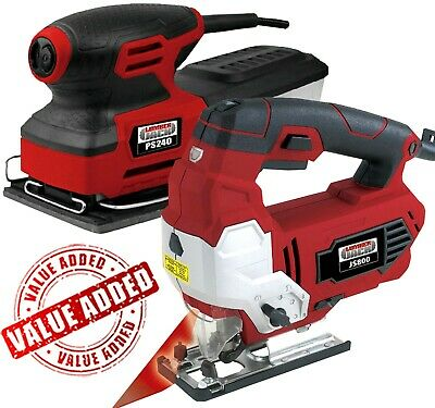 Lumberjack Variable Speed Jigsaw with Laser & 1/4 Sheet Palm Sander 240v