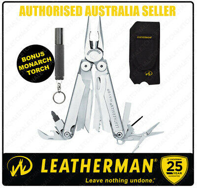 Leatherman WAVE Stainless Steel MultiTool +Nylon +Torch + Classic Blue