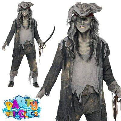 Mens Zombie Pirate Costume Ghost Ship Ghoul Adult Halloween Fancy Dress Outfit