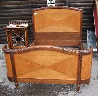 Vintage French Mahogany Demi Corbeille Double Bed Frame - (CON823)