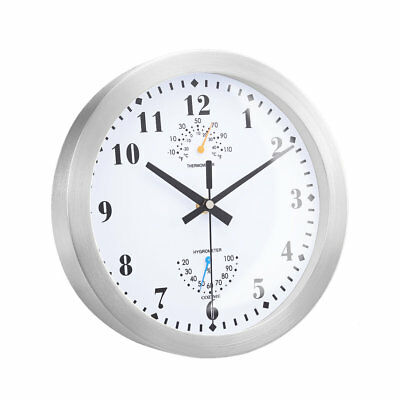 10 Inch Metal Frame Round Wall Clock With Thermometer Hygrometer