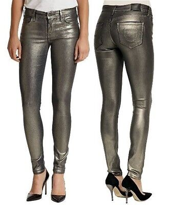 NWT TRUE RELIGION Super Skinny Halle Metallic Gunmetal Stretch Jeans Womens 24