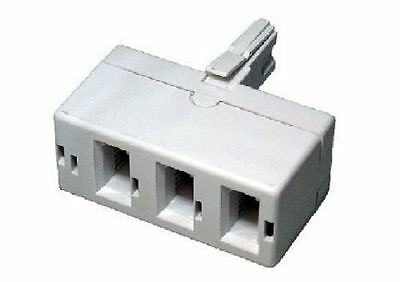 Telephone Phone Socket TRIPLE 3 way Adaptor Splitter