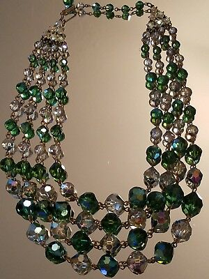 Vintage Antique Green Clear  Aurora Borealis Crys. Glass Bead 4 Strand Necklace
