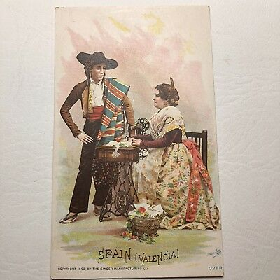 Victorian Trade Card Singer Sewing Machine Company Valencia Spain 1892