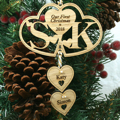 Personalised 1st First Christmas Mr & Mrs Bauble Wedding Gift Tree Decoration