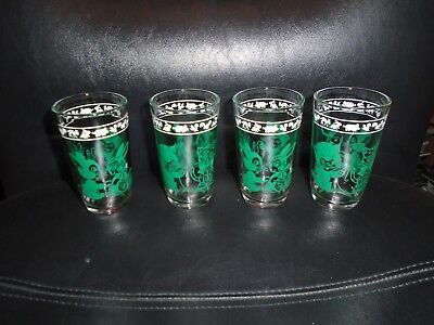 Set Of 4 Vintage Kraft Swanky Swig Green Kitty & Bunny Hazel Atlas Juice Glasses