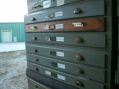 Large Vintage Plan Chest - Green - 6 drawer, Shabby Chic, Restoration       506