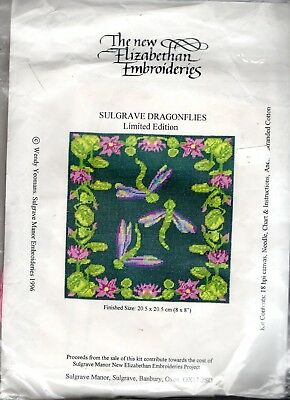 "Vintage Canvas Sulgrave Dragonflies"" Limited Edition TAPESTRY KIT SMALL CUSHION"