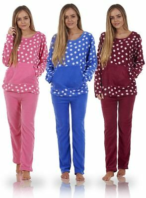 Ladies Stunning Printed Fleece Pyjama Set Womens PJ's Winter Warm Nightwear