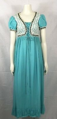 Vintage 1970 Montgomery Ward Dress Prom Party Victorian Hippie Lace Maxi Modest