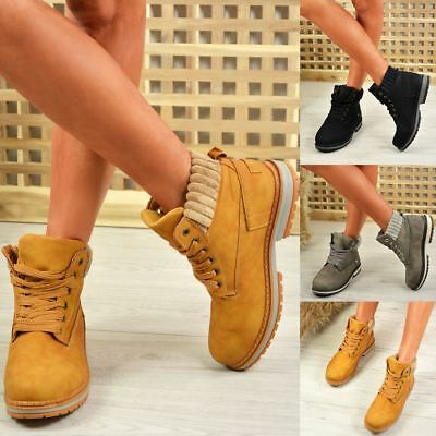 New Womens Ankle Boots Lace Up Grip Sole Chunky Low Heel Ladies Shoes