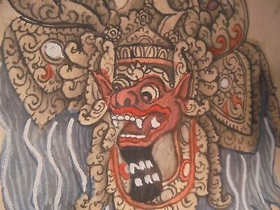 Matched Pair Antique Balinese Hindu Barong Hand Painted Drawings Picture Framed