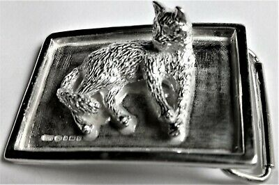 "Solid Sterling Silver Belt Buckle ""The Cat"""