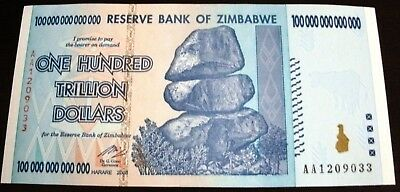 100 Trillion Zimbabwe Dollars Bank Note AA 2008 ~ GEM  UNC Authentic Banknote