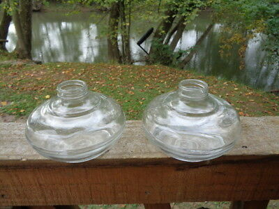 2 Vintage Oil Lamp Anchor Hocking Glass Kerosene BASE ONLY PAIR *NOS