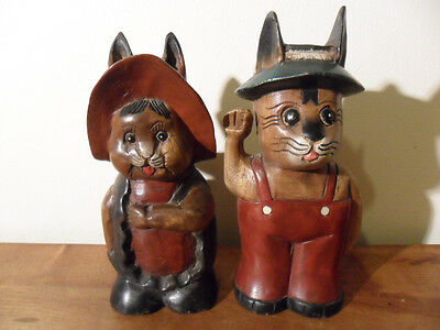 "Hand Carved And Painted Wood Folk Art Male & Female Rabbits~10.5"" Each!"