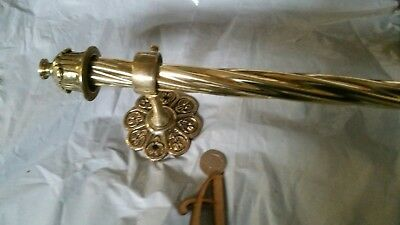 1164mm LONG ANTIQUE Vintage BRASS CURTAIN POLE RAIL C1920 OLD ORNATE French A