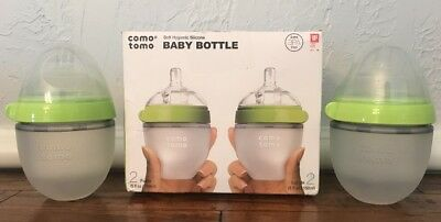 4 Comotomo Natural Feel Soft Silicone Baby Bottles Green 5oz NEW Lot 58