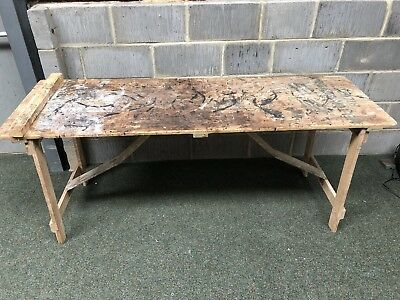 Vintage Wooden Tressel Table - Lots Of Paint And Marks 185cm X 60cm