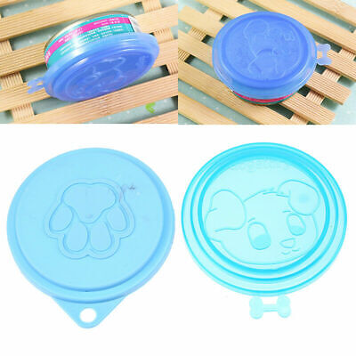 Useful 2x Reusable Pet Food Can Sealed Cover Dog Cat Storage Tin Plastic Cap Lid