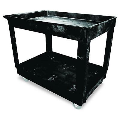 Rubbermaid Commercial Utility Cart, Lipped Shelves, Medium, Black, 4""