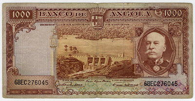 Angola 1956 Issue 1000 Escudos Scarce Banknote Avf. Pick#91.