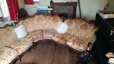 Louis VX French sectional three piece sofa with beautiful carved detailing