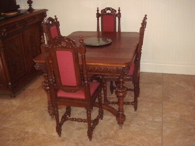 Antique, Hand-Carved Belgium Dining Set (6 chairs)