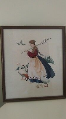 Hand stitched Vintage French  Tapestry Needlepoint Lady geese red hen