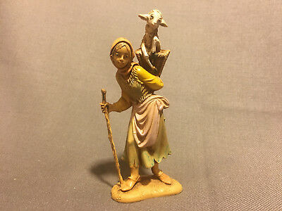"""Fontanini Nativity 5"""" Scale Villager Woman with Stick and Carrying Lamb 1983"""