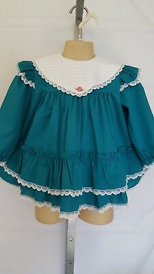 Vtg Toddler Girl Bryan? Miniworld? Teal Big Collar Frilly Full Dress Size 3T?