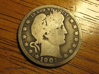 1901-S 25C Barber Quarter Super Low Mintage Key to the Series Good Very Scarce!