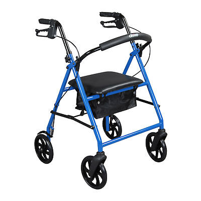 "Drive Medical R900BL Steel Walker Rollator with 8"" Wheels Blue! M22"