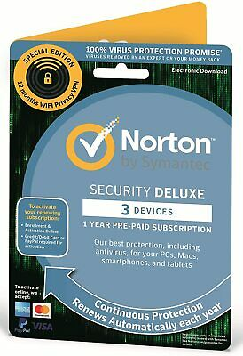 Norton Internet Security DELUXE 2019 3 Device 1 Year Fast Retail Version Posted