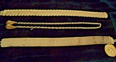 Lot Of Three Vintage Goldtone Belts Two Elasticized, One Chain Link