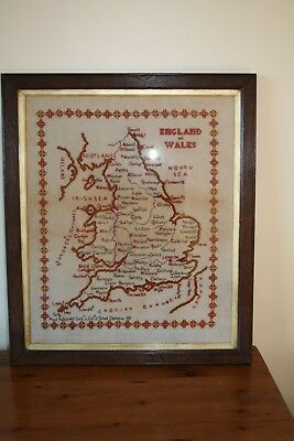 Map of England & Wales Cross Stitch in Colour With Frame Quite Old
