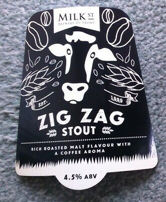 NEW Beer pump clip badge front MILK STREET brewery ZIG ZAG real ale stout Frome