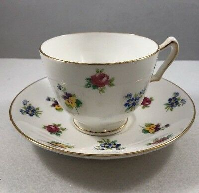 Crown Staffordshire Fine Bone China ENGLAND Tea Cup & Saucer Flowers