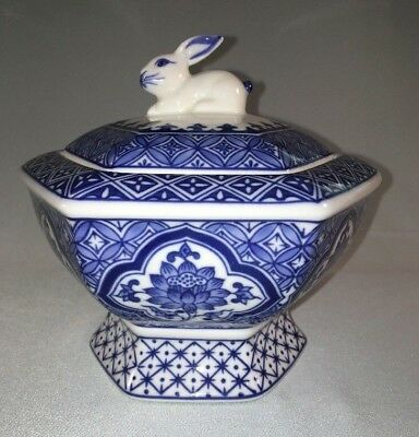 BOMBAY Porcelain Compote Candy Dish Blue & White Ceramic Footed w/ Rabbit Lid