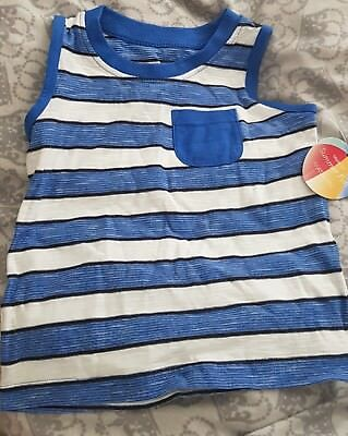 Baby Boys stripped blue/white vest top,12-18,matalan,bnwt,gift/present 4 prince