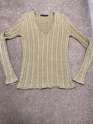 Womens Ladies Ralph Lauren  Cable Knit Jumper Gold Sz Small / S