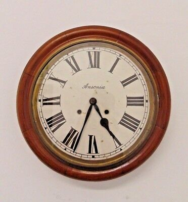 Vintage Ansonia Wall Clock Wooden Dial Station School Railway Office Round Used