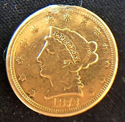 1873 $2 1/2 Dollar Gold Liberty Love Token - .99 Start and NO RESERVE!