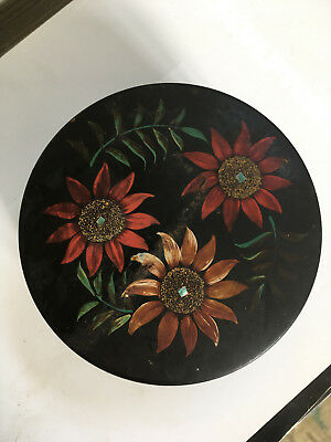 Vtg Antique Art Deco Japanese Chinoiserie Black Flower Lacquered Jewelry Box