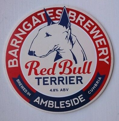Beer pump clip badge front BARNGATES brewery RED BULL TERRIER cask ale Ambleside