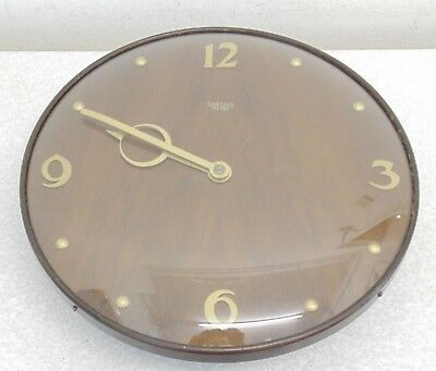 "Vintage Smiths Sectric Wall Clock Office Factory Station  Art Deco 12"" Used"