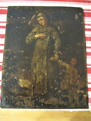 Original Antique Retablo On Copper Santa Marina Holding Young Jesus Bt The Hand