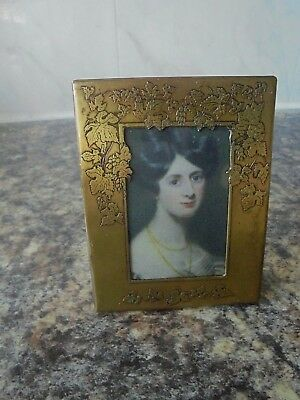Lovely Antique Brass Arts And Crafts Photo Frame Portrait Miniature Frame Signed
