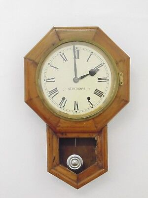 Vintage Seth Thomas Wall Clock Wooden Dial Station School Railway Office Used